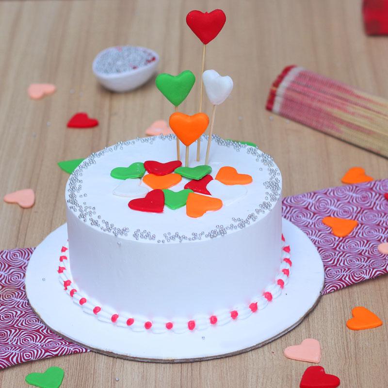 Colourful Hearts Cake