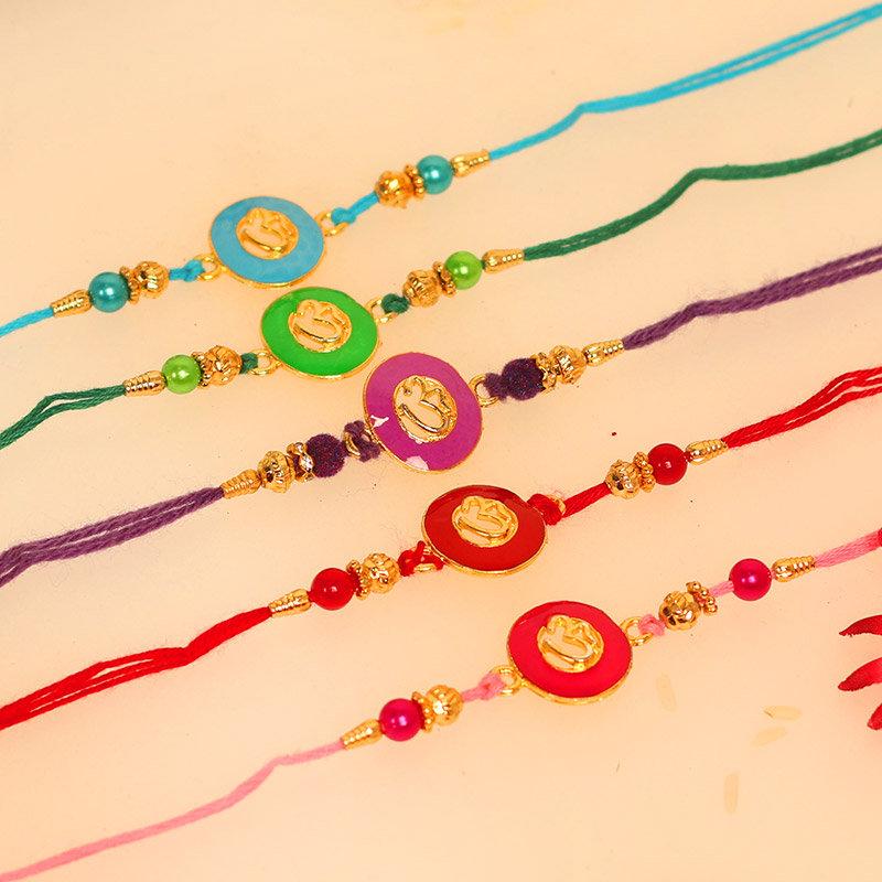 Colourful Om Rakhi Set