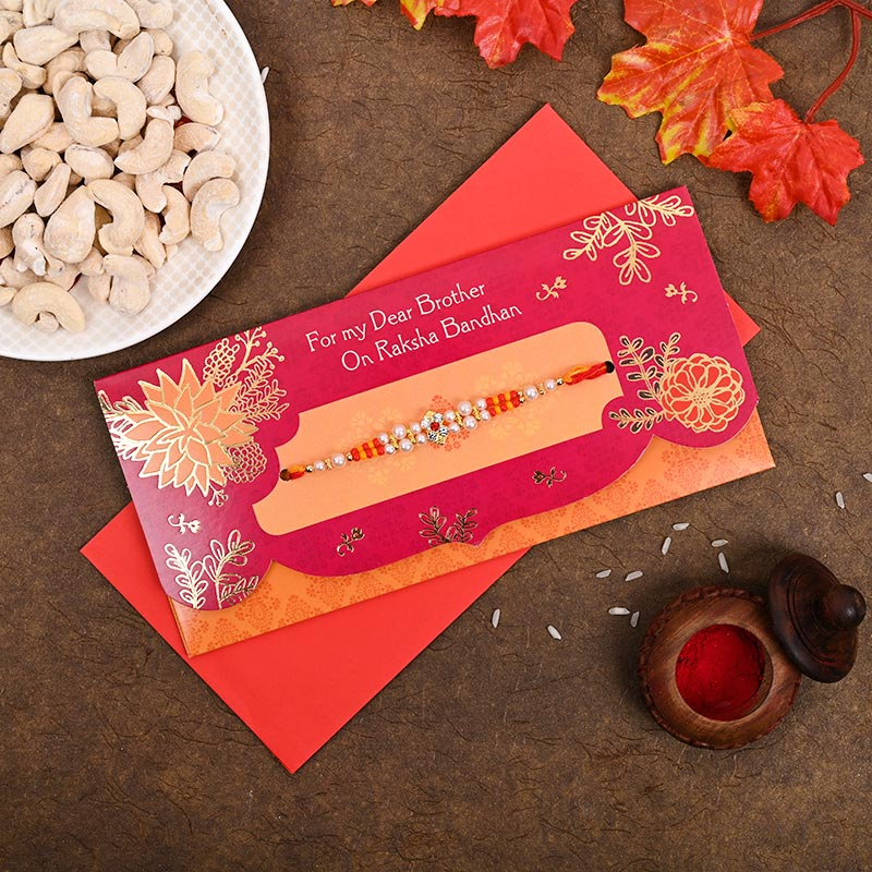 Colourful rakhi & greeting card combo