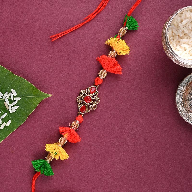 Order Colourful Rakhi N Peda Combo Online