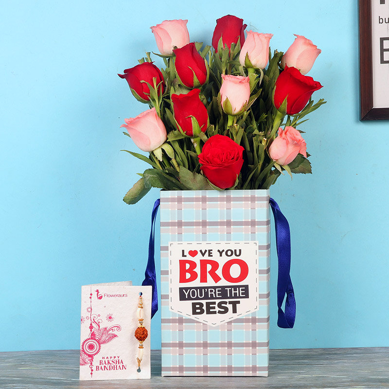 12 Red and Pink Roses with Rakhi in a Flower Box for Brother