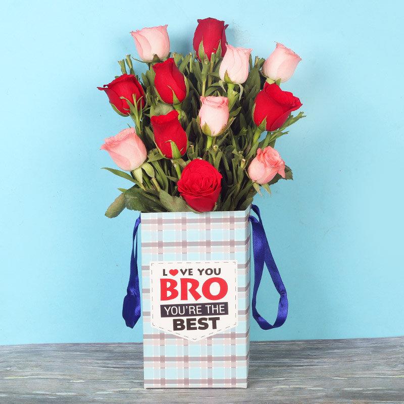Rudraksha Rakhi With Twelve Red N Pink Roses