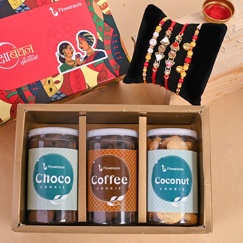 Set of 4 Designer Rakhi - Cookie galore four Rakhis