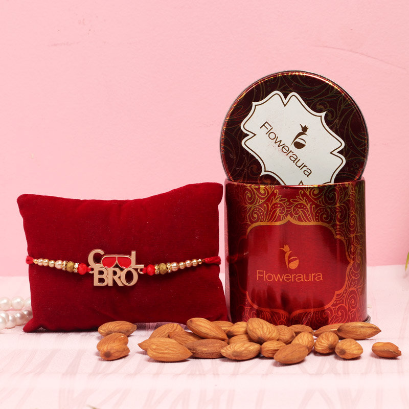 Cool Bro Almonds Rakhi Combo - One Designer Rakhi with Complimentary Roli and Chawal and 100gm Almonds in Red Floweraura Container