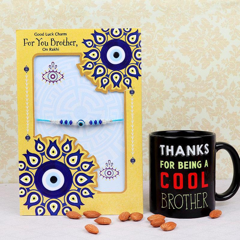 Rakhi and Card with Printed Mug and Almonds
