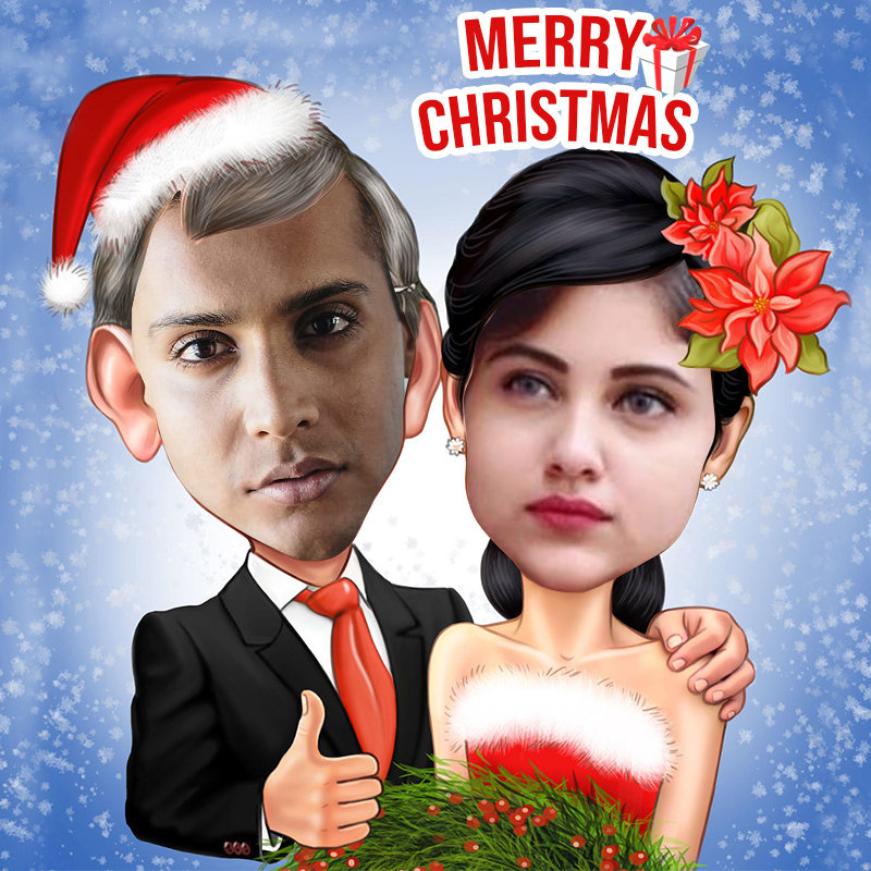 Couple holiday caricature