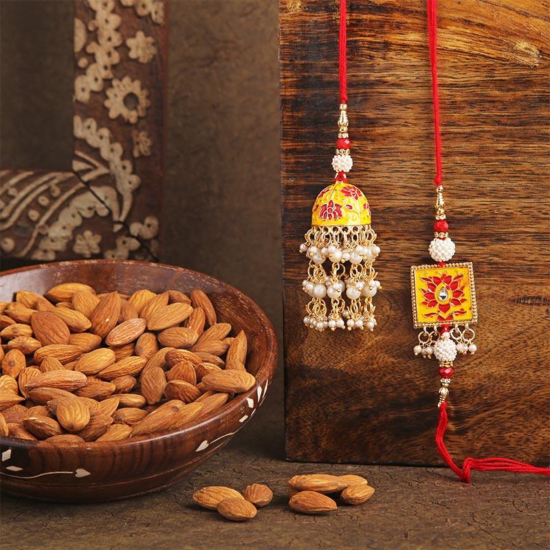 Couple Minakari Rakhi N Nuts