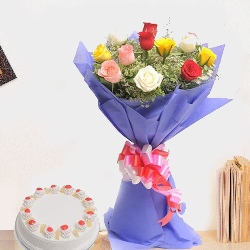 A Rose Bouquet With Delicious Cake