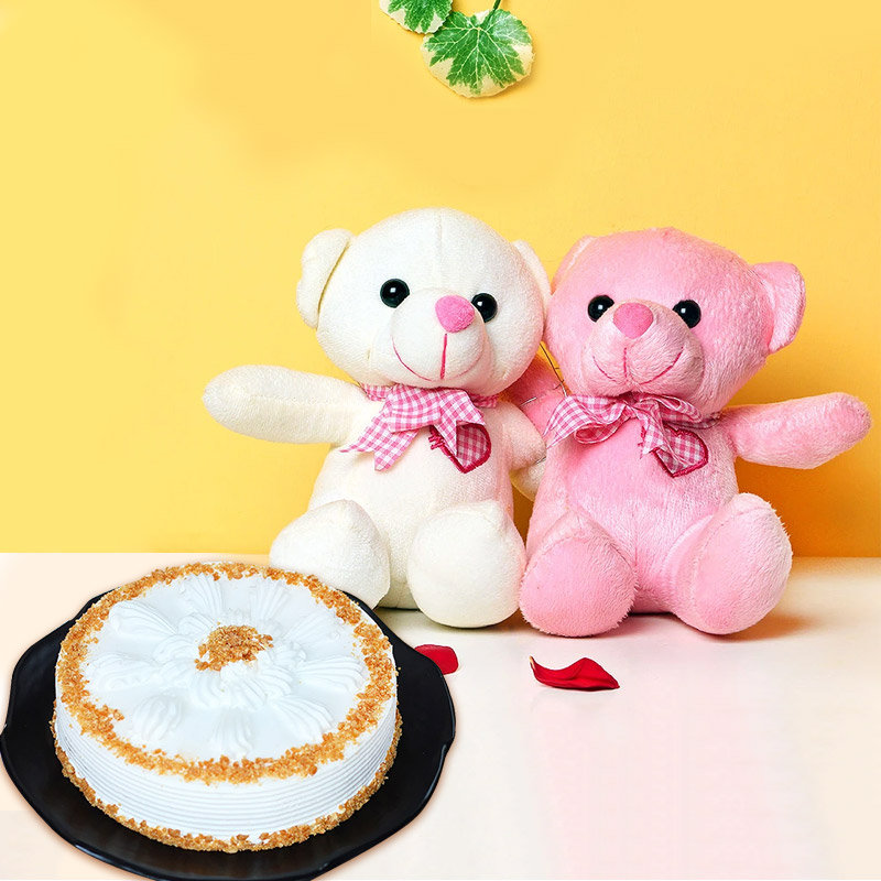 Creamy Soft Combo - Two 6 Inch Teddies with 500 gm Butterscotch Cake