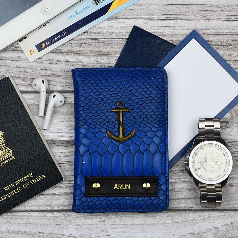 Croco Blue Passport Wallet