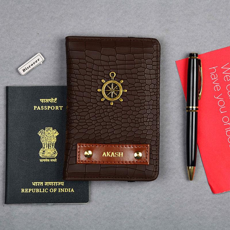 Croco Brown Passport Wallet