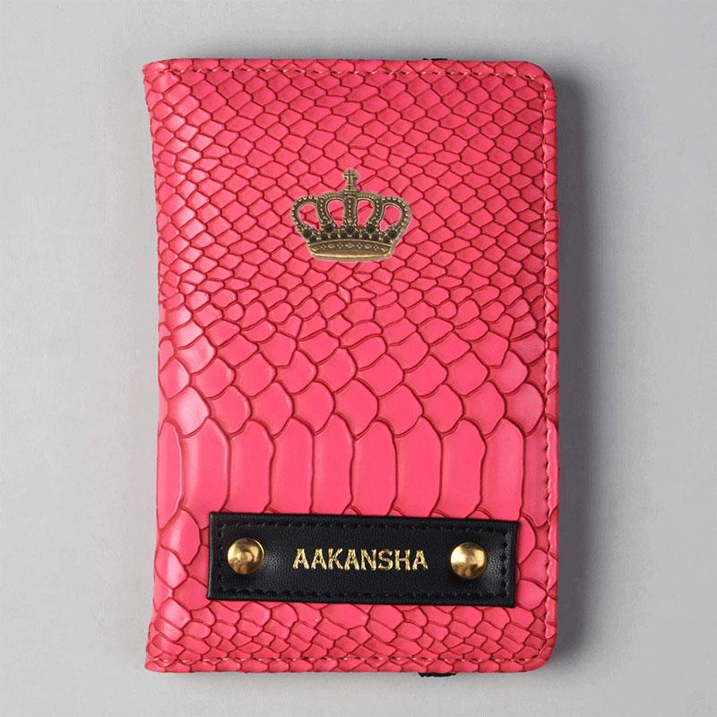 Croco Pink Passport Wallet