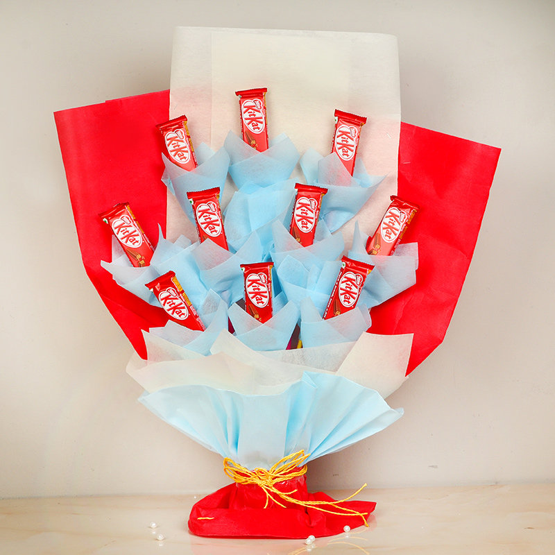 Crunchy Kitkat Bouquet - Bouquet of 10 Kitkats in Multi Colored Paper Packing