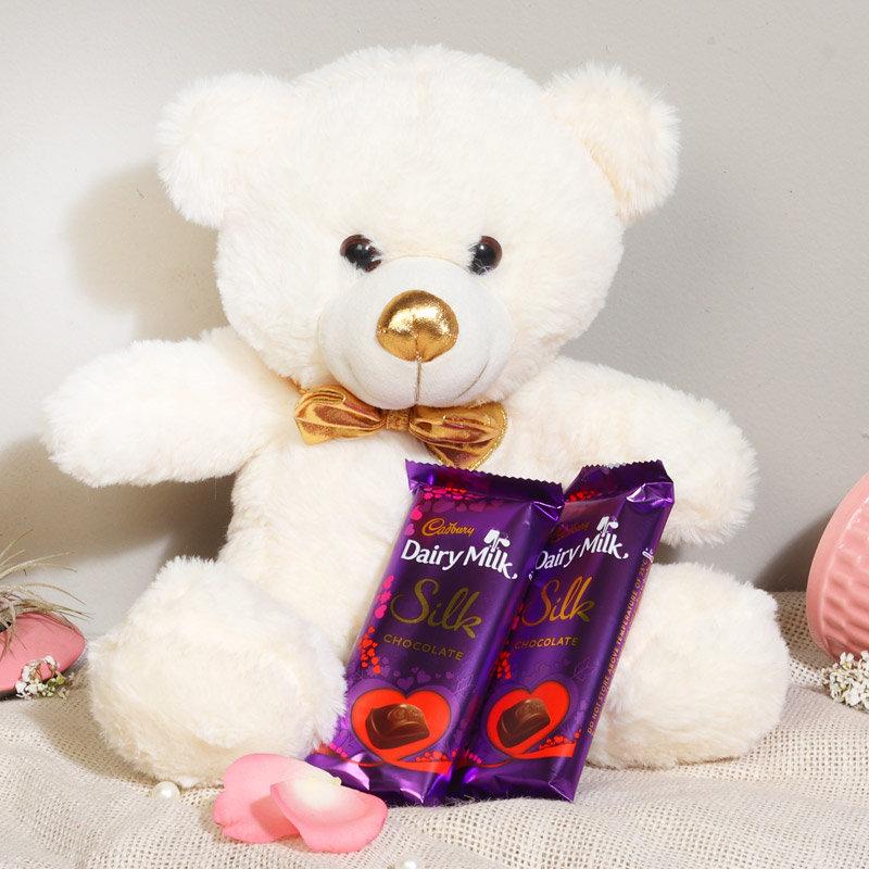 Teddy Day Gift for Girlfriend - Cute Teddy With Dairy Milk Chocolate