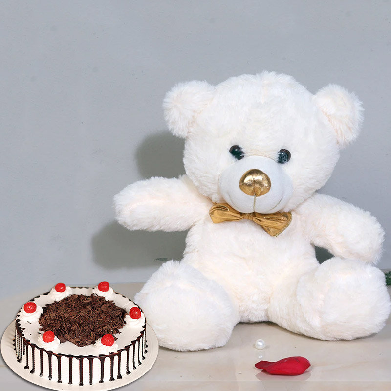 Cuddly Cake Combo - 12 Inch Teddy with 500gm Black Forest Cake