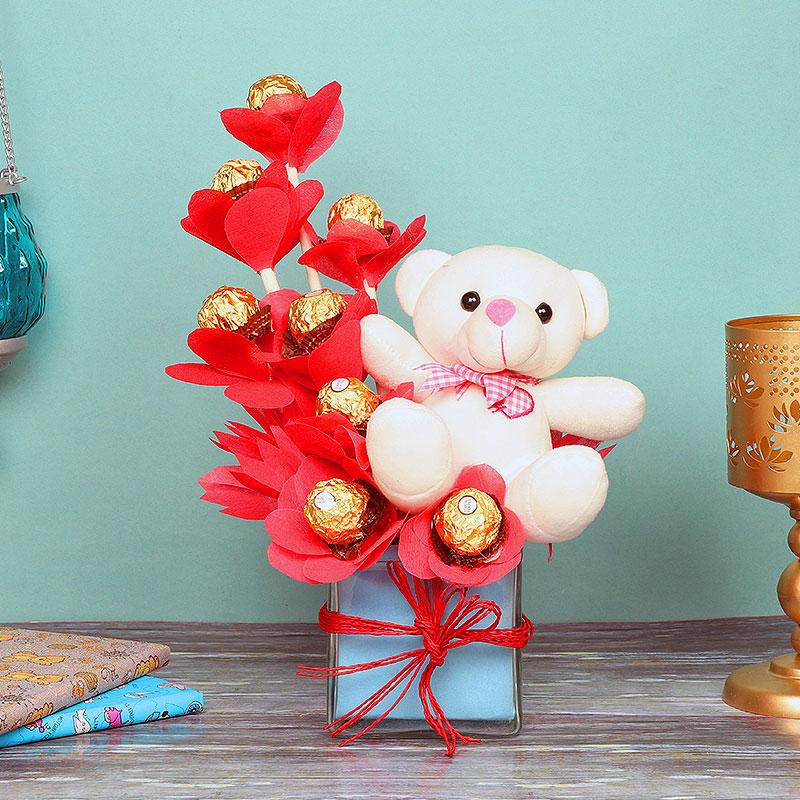 Bouquet of Ferrero Rocher Chocolates with a Teddy