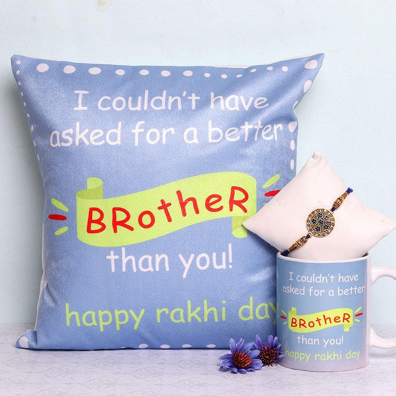 Cushion Mug Rakhi Combo