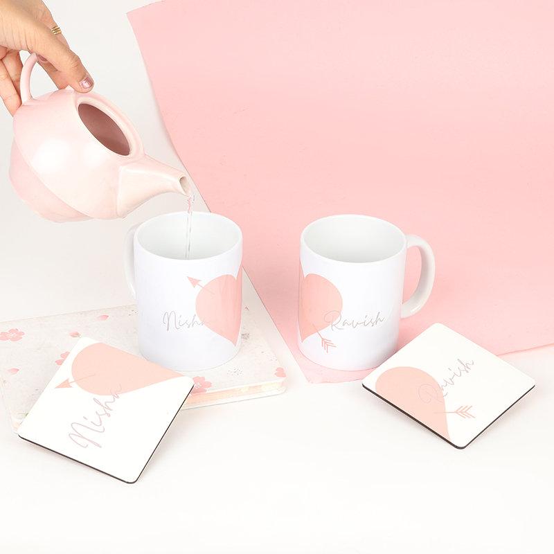 Custom Heart Mug Set
