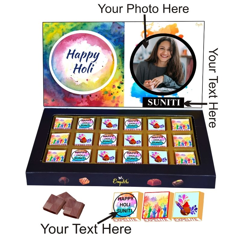 Holi Chocolate Gift With Photo and Name - 18 PC Special Holi Gift for Kids