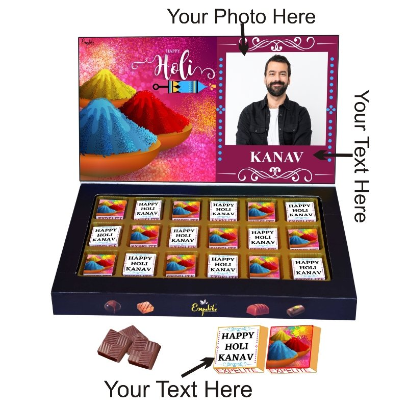 Personalized Best Chocolate Gift On Holi - 18 pc Holi Gift For Boyfriend