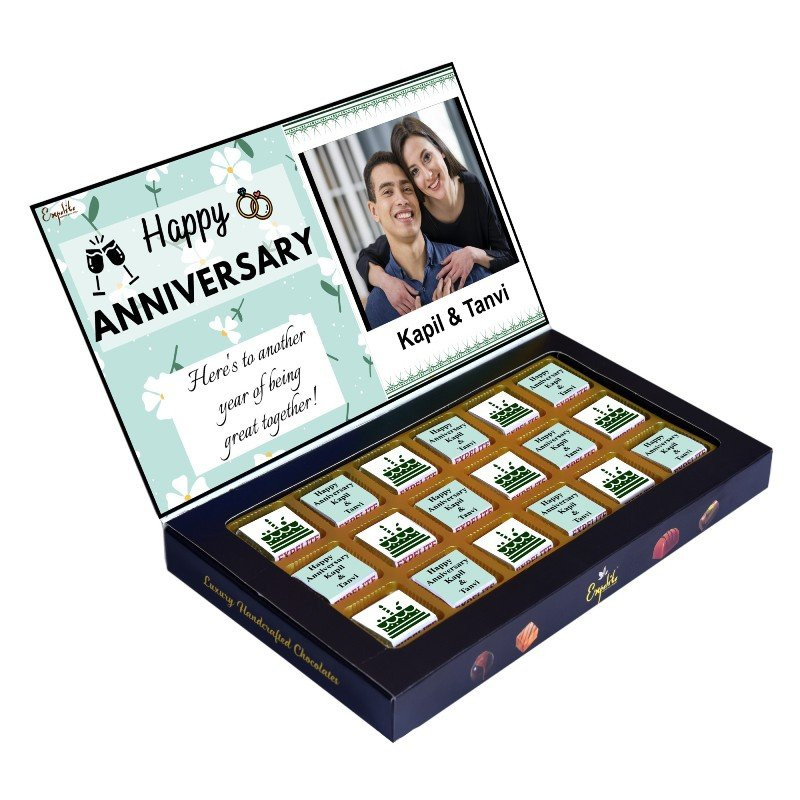 18 Pieces of Premium Personalised Anniversary Chocolates