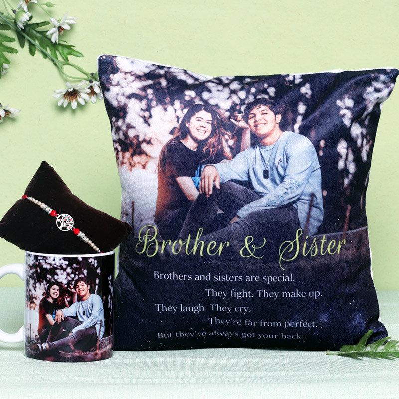 Rakhi with Personalised Cushion and Mug for Brother