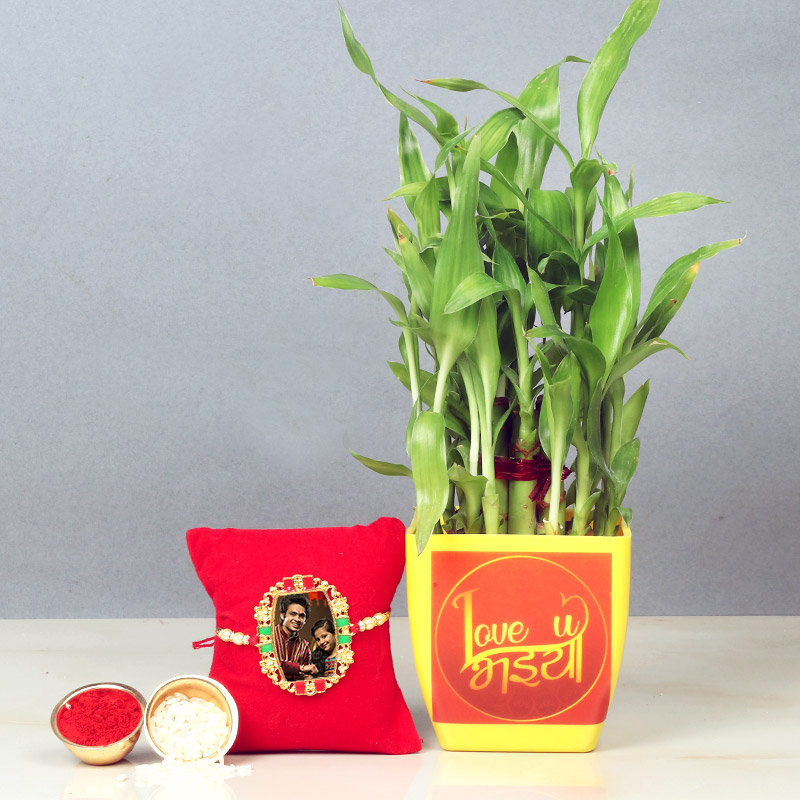 Personalised Rakhi with Lucky Bamboo Plant