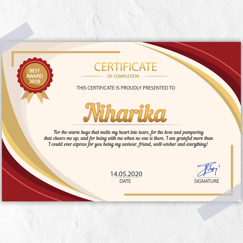 Personallised Certificate for Her