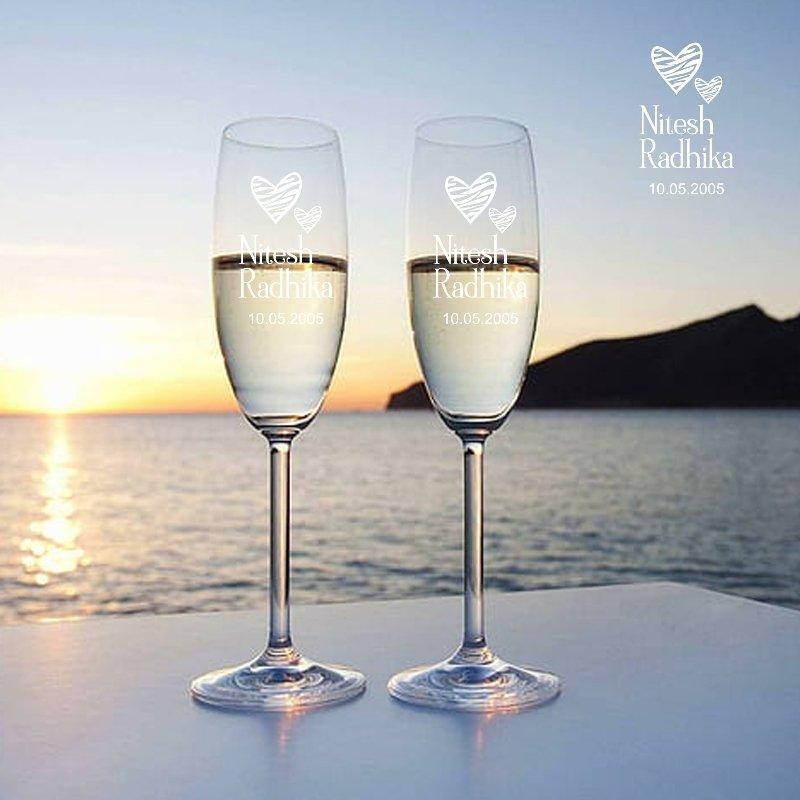 Customised Champagne Couple Glass Set