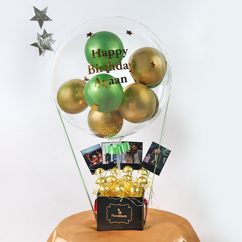 Customised Gold and Green Balloon Bouquet