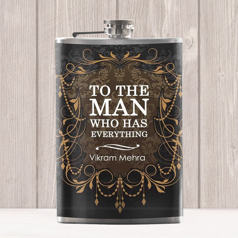 Stainless steel personalised hip flask - Fathers Day