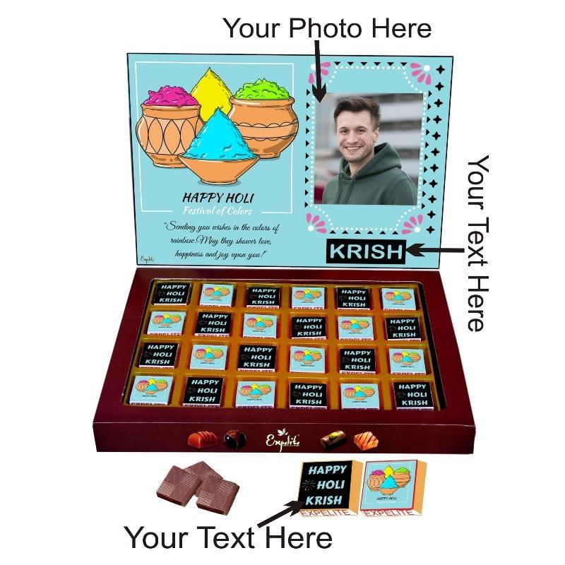 Best Personalized Chocolate Gift On Holi - 24 pc Holi Gift For Husband