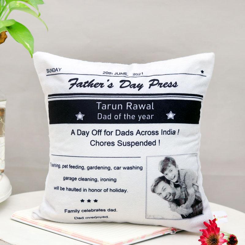 Customised Newspaper Print Cushion