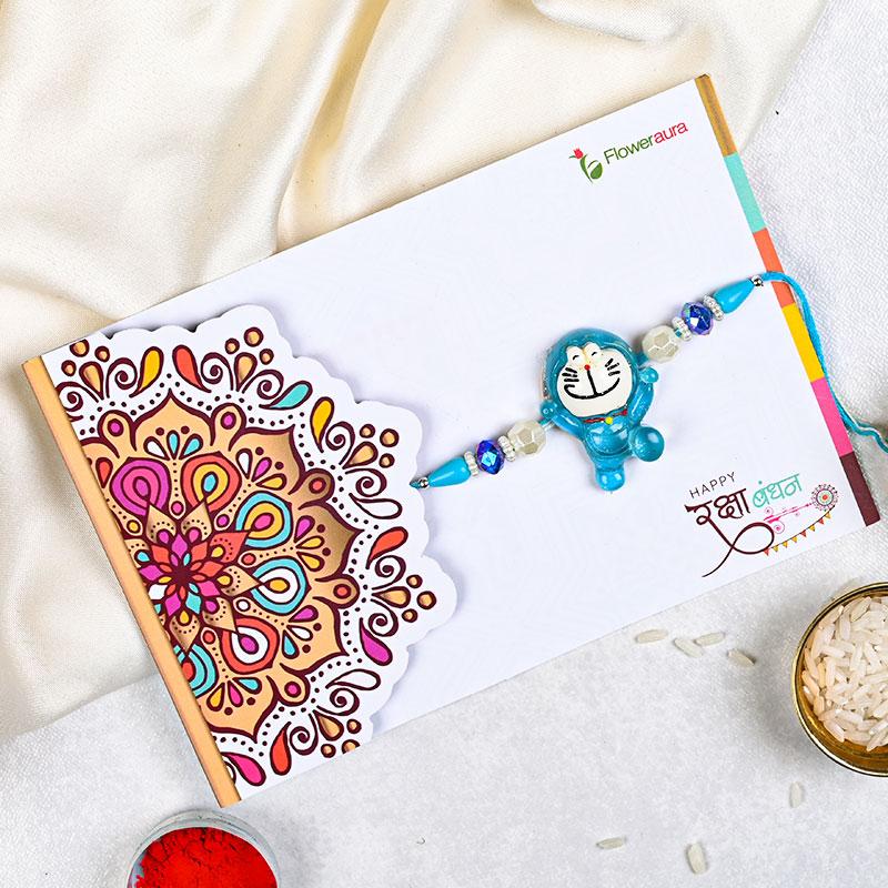 Cute Doraemon Rakhi on Rakhi Card