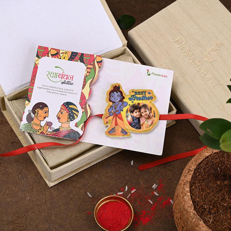 Send One Cute Krishna Personalised Rakhi Online in India