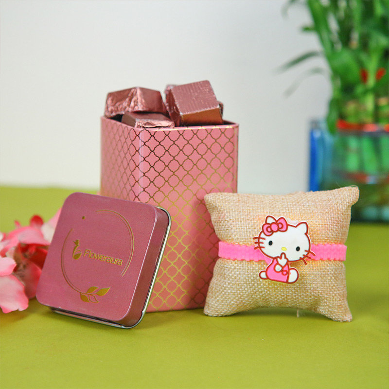 Cute Little Kitty Rakhi Combo - Cartoon Rakhi, Handmade Chocolate With Box