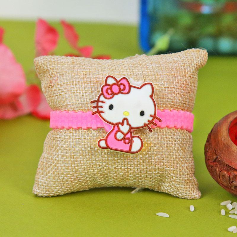 Cartoon Rakhi, Handmade Chocolate With Box - Cute Little Kitty Rakhi Combo