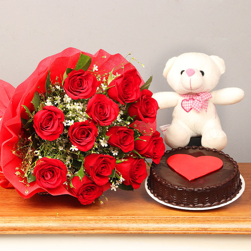 Bunch of Red Roses and Chocolate Cake with Teddy Combo