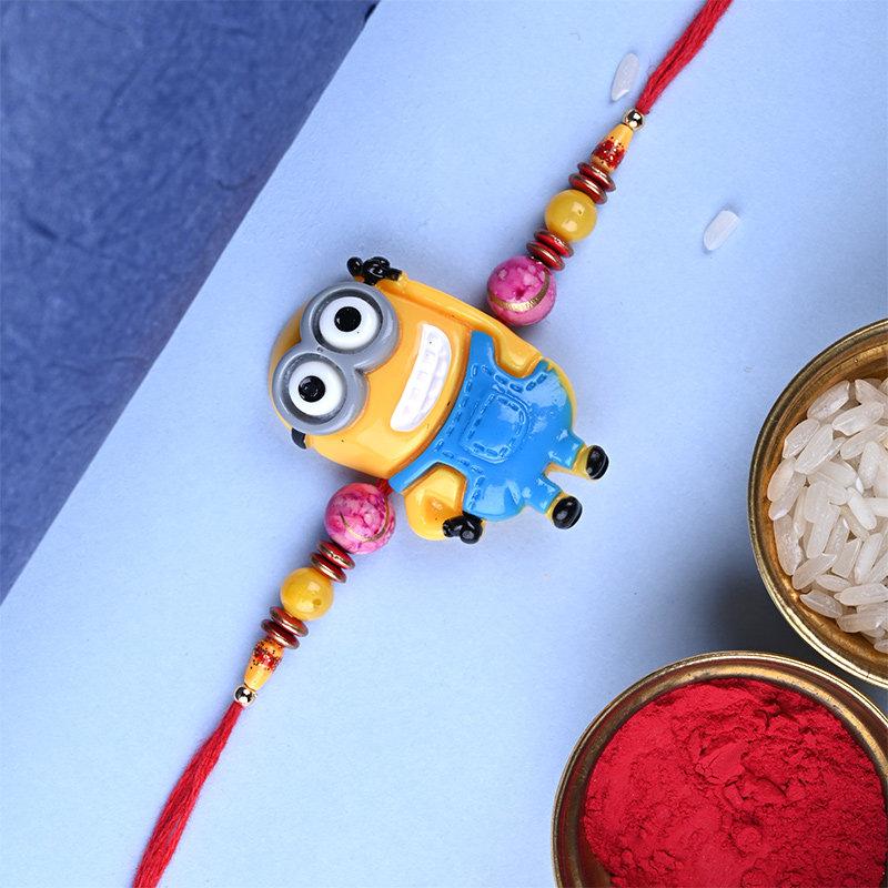 Upper View of Cute Minion Rakhi - Cartoon Rakhi For Babies
