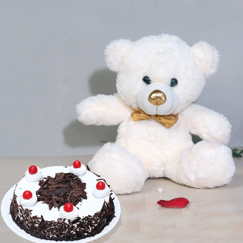 Cute N Sweet Combo - 12 Inch Teddy with 500gm Black Forest Cake