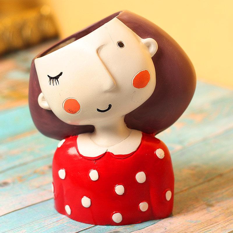 Cute Winking Girl Vase