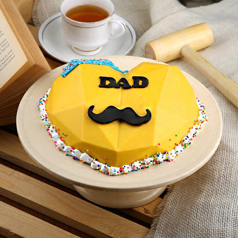 Dad Moustache Pinata Cake