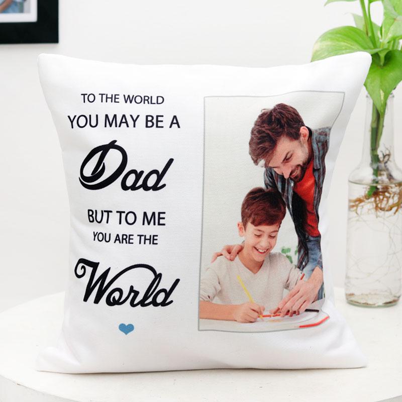 Dads Personalised Photo Cushion
