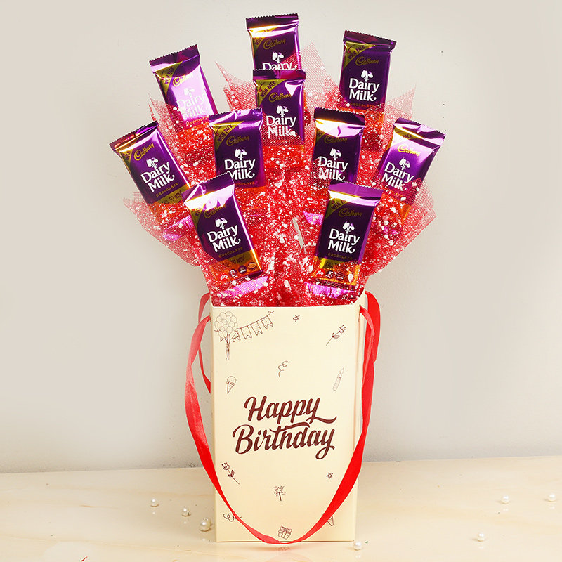 Dairy Milk Birthday Bouquet - 10 Dairy Milk Chocolates in Birthday Chocolate Box