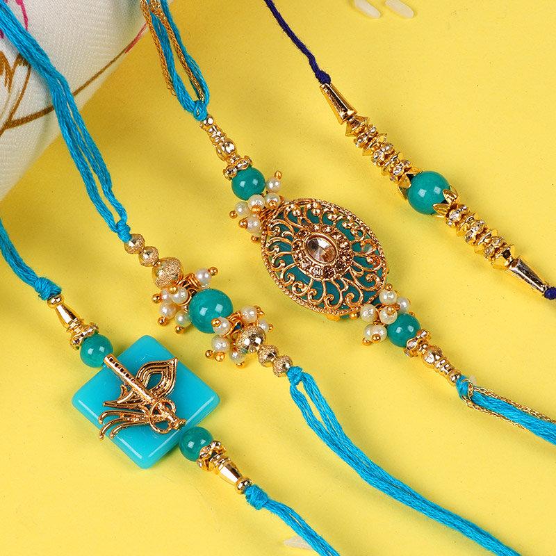 Set Of Four Golden Rakhis