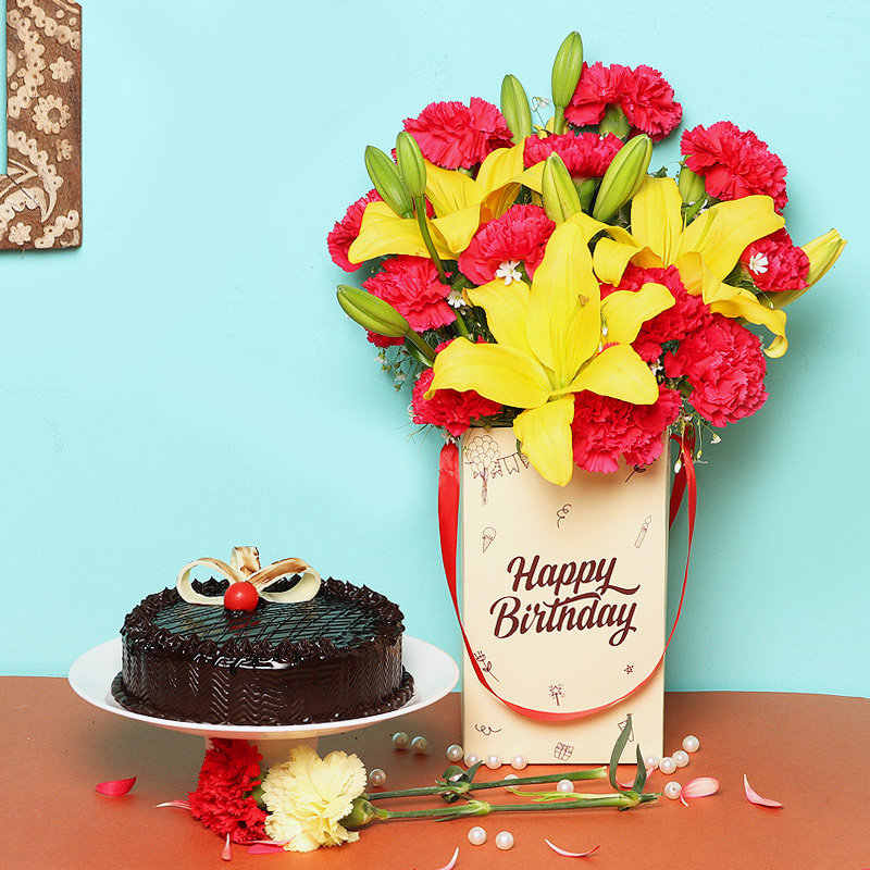 Carnations & Lilies Bunch in Birthday Flower Box with Chocolate Cake