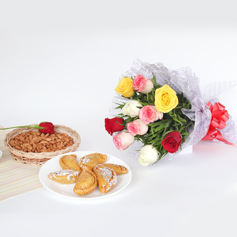 Almonds and Gujiya With Rose Bouquet