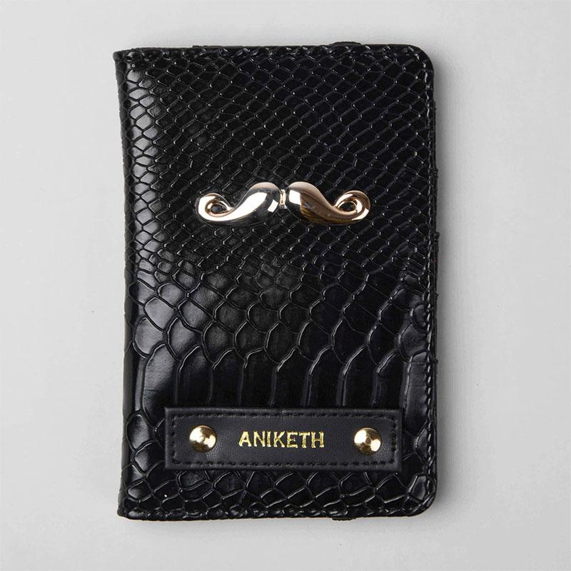 Designer Black Passport Wallet