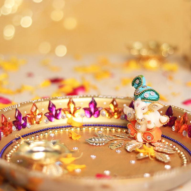 Designer Diwali Puja Thali - Diwali Gift