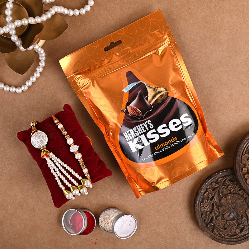 Designer Lumba Rakhi With Chocolates Combos For Brother Online side view